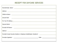 child care receipt template excel