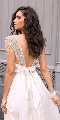 Amazing Anna Campbell 2018 Wedding Dresses ❤️ vintage a line low back cap sleeves heavily embellishment shoulders wedding dresses with bow 2018 anna campbell ❤️ See more: http://www.weddingforward.com/anna-campbell-2018-wedding-dresses/ #weddingforward #wedding #bride