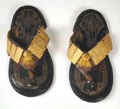 Africa | Sandals from the Akan people of Ghana | Leather, wood covered goldleaf | 19th - 20th century