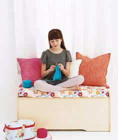 Toy Box as Window Seat - When your child outgrows their toybox, you can repurpose it to a window seat.  Add a fresh coat of paint, some cushions, and fill with blankets, craft supplies, or out of season clothes.  :)