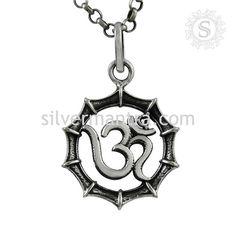 Handmade !  Sterling Silver Jewelry OM Pendant