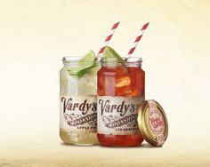Vardy's Moonshine - Served in glass jars with ice and lime. Apple Pie Moonshine, Glass Jars, Salsa, Strawberry, Lime, Drinks, Projects, Food, Log Projects