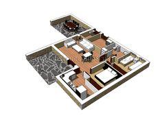 3d interior de casa rustica de planta baja casa - Distribucion de casas ...