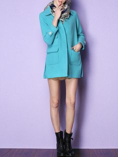 #StyleWe Shop KAN�F Coats - Blue Pockets Wool Blend Plain Casual Coat online. Discover unique designers fashion at AdoreWe.net.