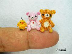 Rilakkuma - Tiny Amigurumi Crochet Miniature Set of Rillakkuma, Korilakkuma and Kiiroitori duck - Made To Order.