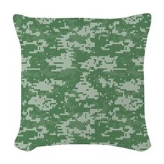 Green military camouflage prints Woven Throw Pillo