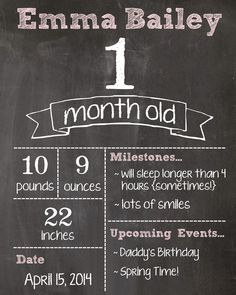 one month old chalkboard image - Google Search