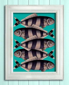 Blue Striped Fish, Nautical print sea picture beach house decor wall decor marine painting nautical decor bathroom decor fish print on Etsy, 99,60kr