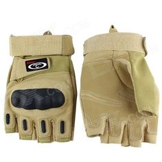 OUMILY Outdoor Half-Finger Tactical Gloves for War Game - Khaki (Pair / Size XL) Price: $13.15