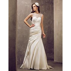 Trumpet/Mermaid Jewel Sweep/Brush Train Satin And Lace Wedding Dress (682817) – GBP £ 123.19