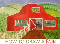 Using watercolor paints, I demonstrate how to mix colors to create interesting rural colors. Instead of painting the barn red straight from the palette, Elementary Drawing, Kindergarten Art Lessons, Deep Space Sparkle, 2nd Grade Art, Traditional Japanese Art, Barn Art, Principles Of Art, Art Curriculum, Art Programs