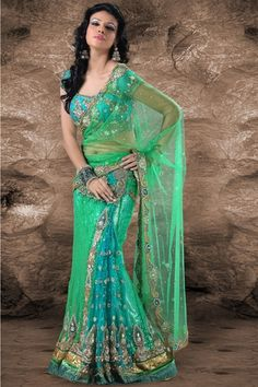 Shaded green & blue net lehenga style saree