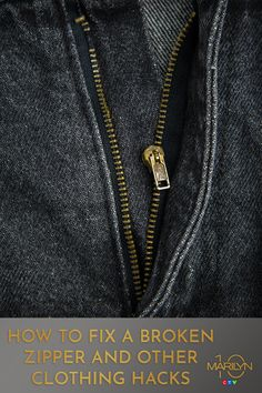 Our resident DIYer shared her best tips and tricks for fixing some of the most common clothing issues. From broken zippers to too-big waistbands on jeans. You might never go back to your tailor! Fix Broken Zipper, Fix A Zipper, Most Common, Clothing Hacks, Zippers, Helpful Hints, Cleaning, Tote Bag, Sewing