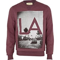 red berry la print sweatshirt - sweatshirts - hoodies / sweatshirts - men - River Island