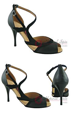 Natural Spin Tango/Salsa Shoes, Small Open Toe, Black Sheep Leather