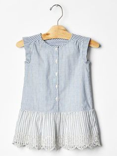 Stripe eyelet drop-waist dress