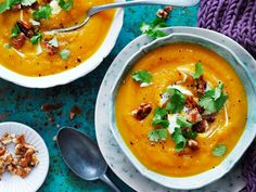 Creamy pumpkin soup with an added walnut crunch. Perfect for lunch or a light dinner. And it's suitable for diabetics.