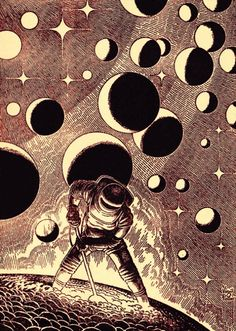 Virgil Finlay, The Adults by Larry Niven, Galaxy 67-06, P. 149. The Known Space novella was expanded into the novel Protector.