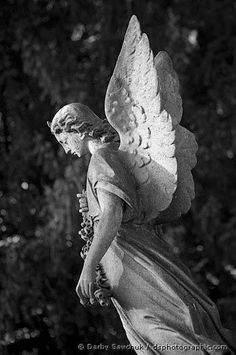 A stone angel in Southern Cemetery in Manchester, England.