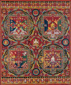 laclefdescoeurs: Four Mandalas of the Vajravali Series Central Tibet, Tsang (Ngor Monastery), Sakya order c. Thangka, gouache on cotton. Tibetan Mandala, Tibetan Art, Tibetan Buddhism, Buddhist Art, Mandala Painting, Mandala Art, Google Art Project, Mystique, Celestial