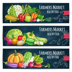 Farmers Vegetables Market Vector Sketched Banners by seamartini Vegetables healthy food. Vector sketched farmers market banners with vegetables harvest as cabbage and cauliflower, pumpkin, peppe Fruit And Veg, Fruits And Vegetables, Veggies, Vegetable Shop, Supermarket Design, Fruit Shop, Fruit Packaging, Whole Foods Market, Grocery Store