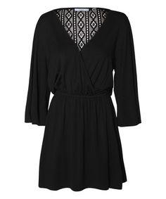 Look what I found on #zulily! Black Lace-Back Surplice Dress #zulilyfinds