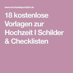 18 kostenlose Vorlagen zur Hochzeit I Schilder & Checklisten