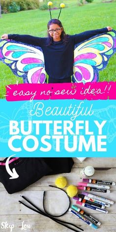 This no-sew Halloween butterfly costume couldn't be any easier, and could be made in an evening! #halloween #DIYhalloweencostume #easycostume #costume Diy Fancy Dress Costumes, Easy Costumes, Halloween Costumes, Costume Ideas, Butterfly Costume, Book Week, Girls In Love, Beautiful Butterflies, Baby Kids