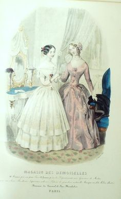 GRAVURE de MODE AUTHENTIQUE-F188-MAGASIN DEMOISELLES-ROBES DE BAL-1849