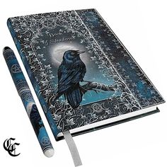 """5""""x7"""" Blank RAVEN Crow BOOK OF SHADOWS Journal with Pen Luna Lakota Wicca Witch"""