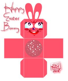 HAPPY EASTER BUNNY - FUNNY PRINTABLE PAPER BOX :)
