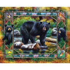 "Jigsaw Puzzle 1000 Pieces 24""""X30""""-Black Bear & Cubs"