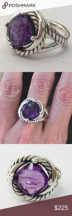 "David Yurman Infinity Amethyst Ring-6.5 A beautiful ring from designer David Yurman's Crossover Collection.  Infinity Ring, Size 6.5  Faceted Amethyst . 11x11mm  .925 sterling silver (stamped ""925"")  Signature cable design along with bright, high-polish sterling silver  Weighs 11.52 grams  David Yurman hallmark (stamped ""D.Y."").    Comes with DY dustbag. Absolutely 100% authentic. David Yurman Jewelry Rings"