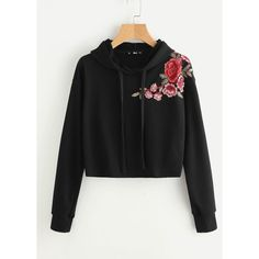 SheIn(sheinside) Embroidered Flower Patch Raw Hem Hoodie (1,025 INR) ❤ liked on Polyvore featuring tops, hoodies, black, long sleeve pullover, flower hoodie, long sleeve hoodies, embroidered hoodies and long sleeve tops