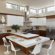 156 surprising small kitchen design ideas and decor -page 16 > Homemytri. Kitchen Room Design, Kitchen Cabinet Design, Modern Kitchen Design, Living Room Kitchen, Home Decor Kitchen, Interior Design Living Room, Home Kitchens, Kitchen Layouts, Kitchen Contemporary