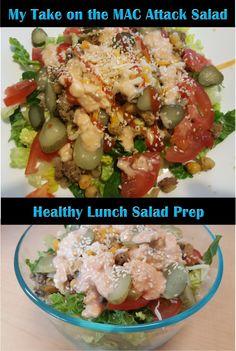 My adaptation of the Mac Attack Salad! Salad Dressing Recipes, Salad Recipes, Healthy Salads, Healthy Recipes, Burger Salad, Health Lunches, Lunch Meal Prep, Health And Nutrition, Pickles