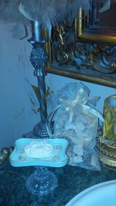 Shabby Chic Repurposed Soap Dish....antique pin tray and crystal glass candle holder....The Chic Trunk