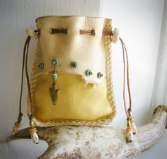 ARROWHEAD Medicine Bag, Deerskin Leather, DEER ANTLER, turquoise, antique brass, Shaman bag pouch, Spirit Pouch, tribal primitive Southwest