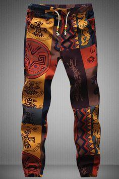 Narrow Feet Drawstring Gecko Pattern Print Men's Jogger Pants
