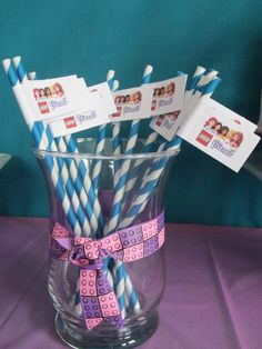 Lego Friends decorative party straws  #legofriends #birthday #party