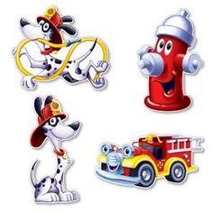 Decoraties Brandweer cutouts -  Een set met vier leuke vrolijke decoraties voor het thema brandweer. Leuk voor een kinderfeest of gewoon als decoratie in een kinderkamer. Afmeting: 40cm.