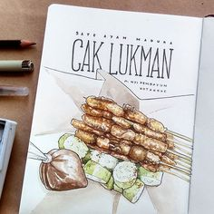 Take away pack of my family's favorite chicken satay in our hometown. When I was kid, this was one of famous satay . trying ivory paper from Chicken Illustration, Illustration Art, Watercolor Food, Watercolour, Chalkboard Art Quotes, Food Drawing, Drawing Art, Food Sketch, Watercolor Painting Techniques