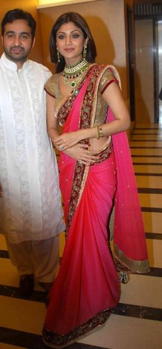 Shilpa Shetty Raj Kundra Marriage Reception Saree 12304