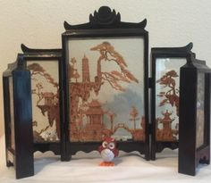Vintage-Asian-Cork-Screen-5-Panel-By-Heritage-Industries-Pagoda