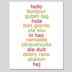 Hello  8x10 Print  Hello in Different Languages  CHOOSE by Tessyla