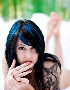 Streaking black hair blue