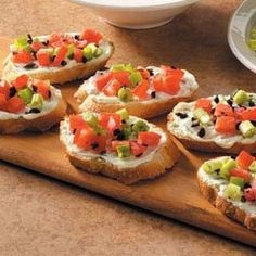 Basil Cream Cheese Bruschetta Recipe  Check our Profile to get more info  Basil Cream Cheese Bruschetta Recipe This appealing appetizer takes classic bruschetta to new heights. Instead of olive oil these savory treats are spread with reduced-fat cream cheese then topped with tomato green onion and ripe olives.Michelle Wentz Fort Polk Louisiana Ingredients 12 slices French bread (1/2 inch thick) 1/2 cup chopped seeded tomato 2 tablespoons   #recipe #recipes #vegan #vegetarian #lunch #cooking…