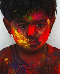 Boy during Holi, Indian Festival of Colors