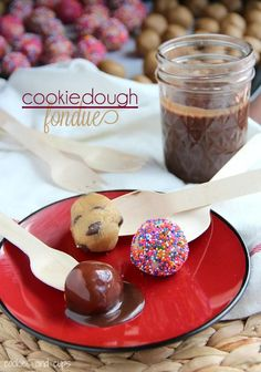 Cookie Dough Fondue.  Egg free sugar cookie, chocolate chip and peanut butter cookie dough to dip in a simple, delicious chocolate fondue