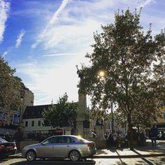 Autumn Sunshine. The Diamond Derry. #thediamond #sun #autumn #trees #sunlight #cenotaph #war #history #pictureoftheday #audi #seats #yellowleaves #stockimo